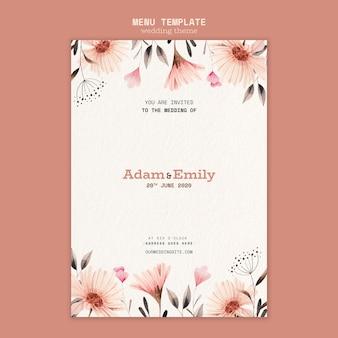 Дизайн меню для свадебного шаблона