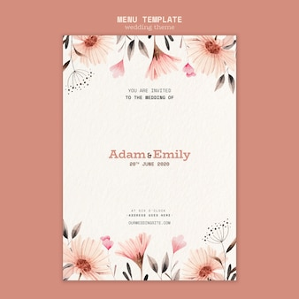 Menu design for wedding template