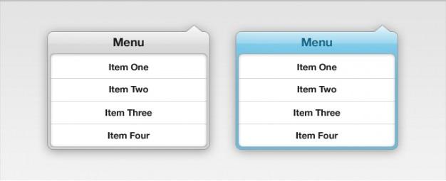 Menu drop down interface