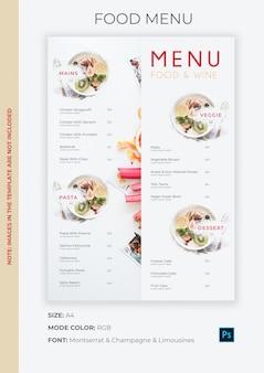 Шаблон меню еды