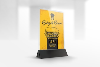 Menu holder table tent mockup