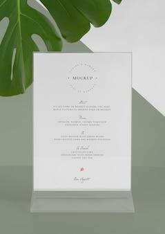 Menu mock-up with monstera leaf
