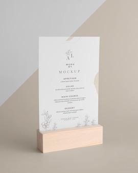 Menu mock-up with wooden stand