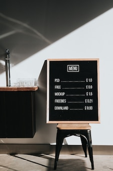 Menu mockup on chalkboard