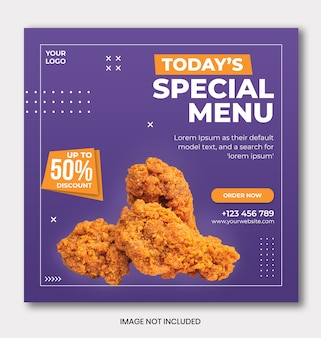 Menu promotion instagram banner template