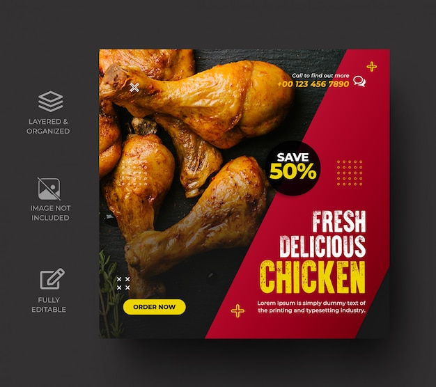 Menu promotion social media post template