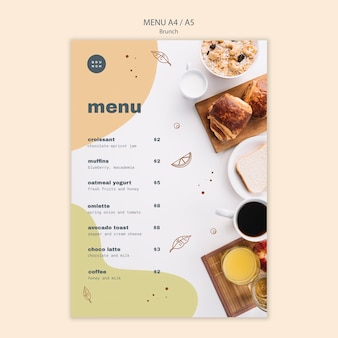 Стиль меню для вкусных блюд позднего завтрака