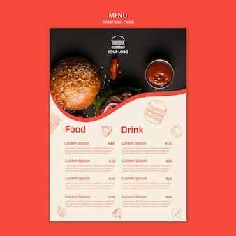 Menu template for burger restaurant