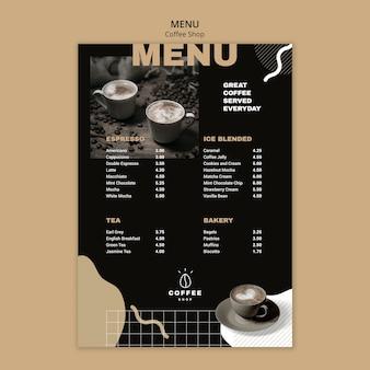 Menu template design for coffee shop