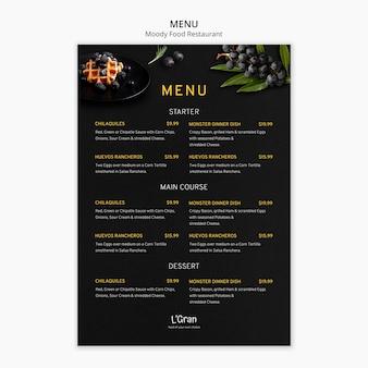 Шаблон меню для ресторана с капризной едой