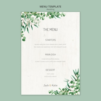 Шаблон меню для свадьбы с листьями