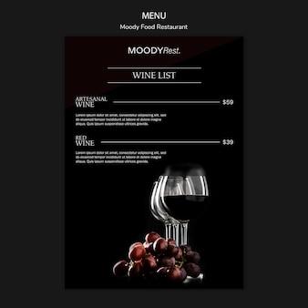 Menu template for moody food restaurant