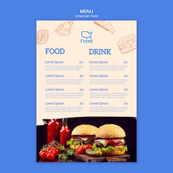 Menu template with american food concept