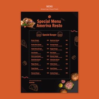 Шаблон меню с американской концепцией еды