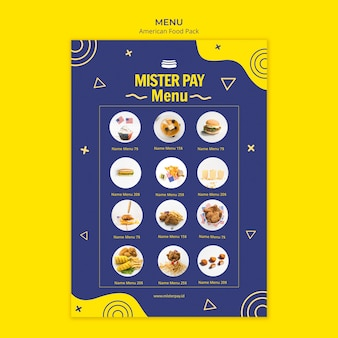 Menu template with american food