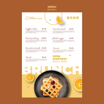 Menu template with brunch concept