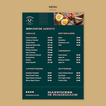 Menu template with brunch theme