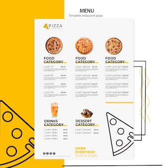 Menu template with dishes for pizza restaurant