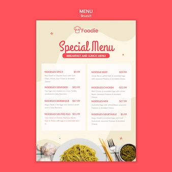 Menu template with list for restaurant