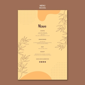 Menu for wedding theme
