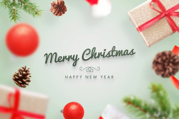 Merry christmas 3d greeting text mockup