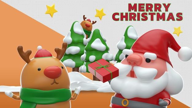 Merry christmas 3d rendering mockup design