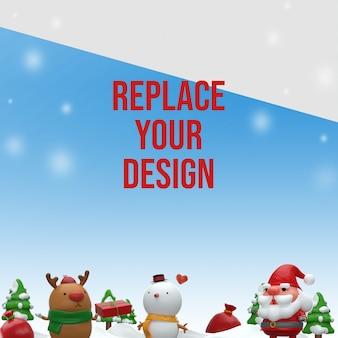 Счастливого рождества 3d визуализации дизайн макета