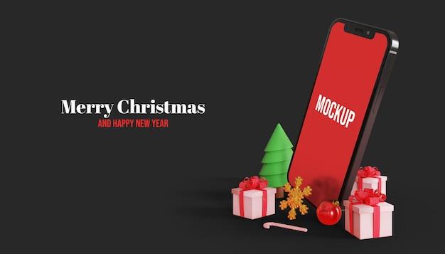 メリークリスマス3dスマートフォン画面モックアップ