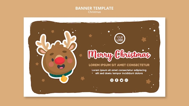 Merry christmas ad square flyer template