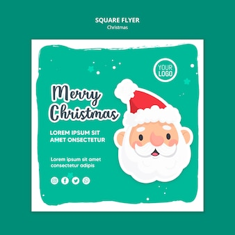 Merry christmas ad template square flyer