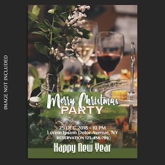 기쁜 성 탄과 새 해 복 많이 받으세요 2019 사진 모형 및 초대 카드 또는 전단지 템플릿