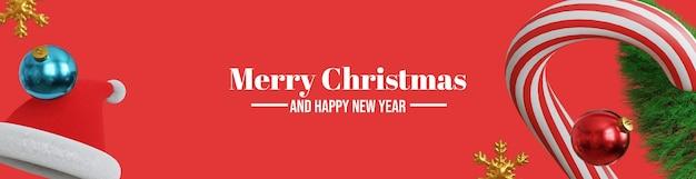 메리 크리스마스와 새해 복 많이 받으세요 3d 배너 배경