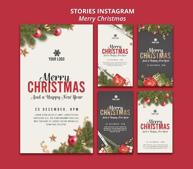 メリークリスマスと新年あけましておめでとうございますのインスタグラムストーリー