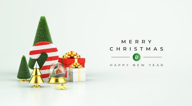 3dクリスマスデコレーションとメリークリスマスと新年あけましておめでとうございますのモックアップ