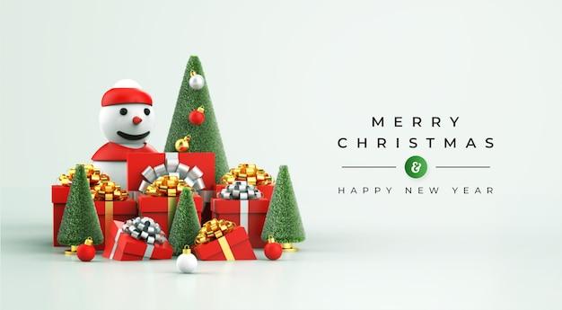 С рождеством и новым годом макет с 3d рождественским украшением