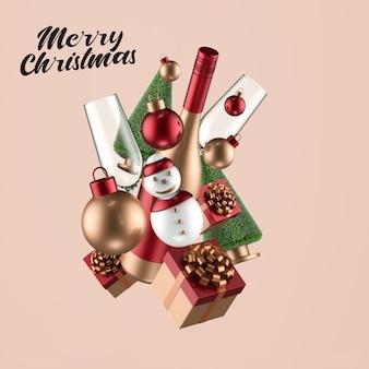 メリークリスマスと新年あけましておめでとうございますのモックアップ