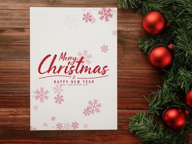 С рождеством и новым годом макет плаката