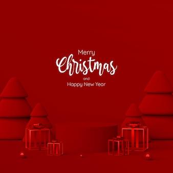 メリークリスマスと新年あけましておめでとうございます、赤い表彰台とクリスマスプレゼントのシーン、3dイラスト