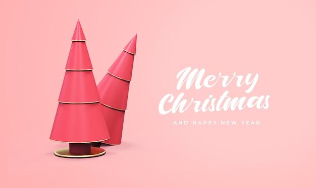 3d松の木のモックアップでメリークリスマスと新年あけましておめでとうございます