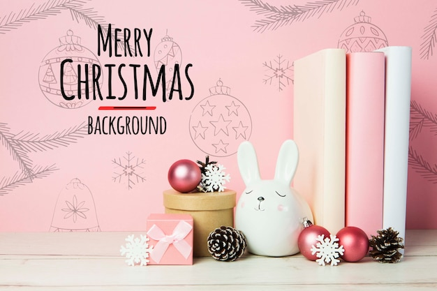 Merry christmas background arrangements with books and ornaments