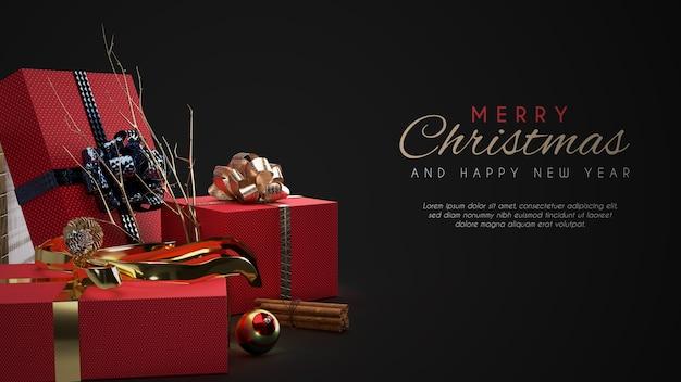 С рождеством христовым баннер мокап