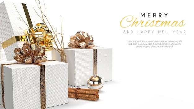 Merry christmas banner mockup