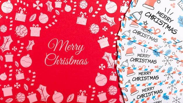 Merry christmas business card with doodles template