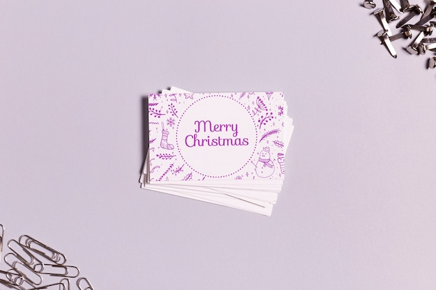 Merry christmas business card with traditional christmas doodles