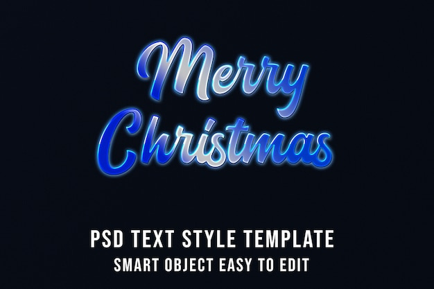 Merry christmas in cold blue text effect