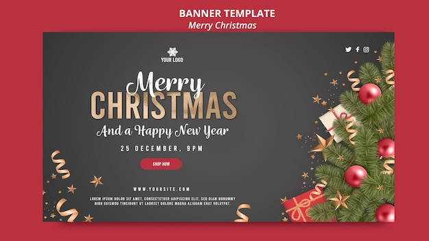 Merry christmas on dark background with ribbons banner