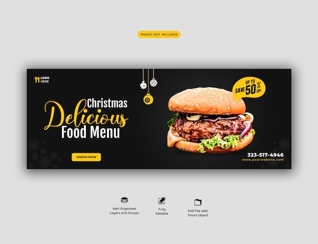 메리 크리스마스 맛있는 햄버거와 음식 메뉴 표지 템플릿