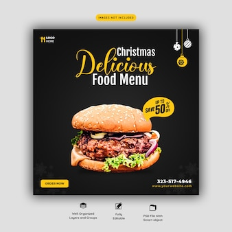 メリークリスマスおいしいハンバーガーとフードメニューソーシャルメディアバナーテンプレート