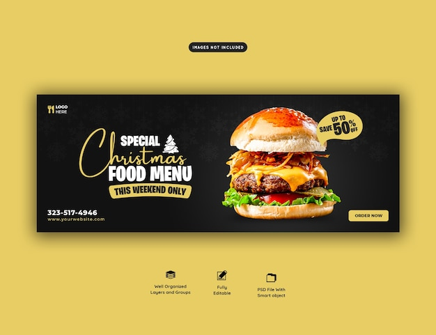 Merry christmas delicious burger and food menu cover template