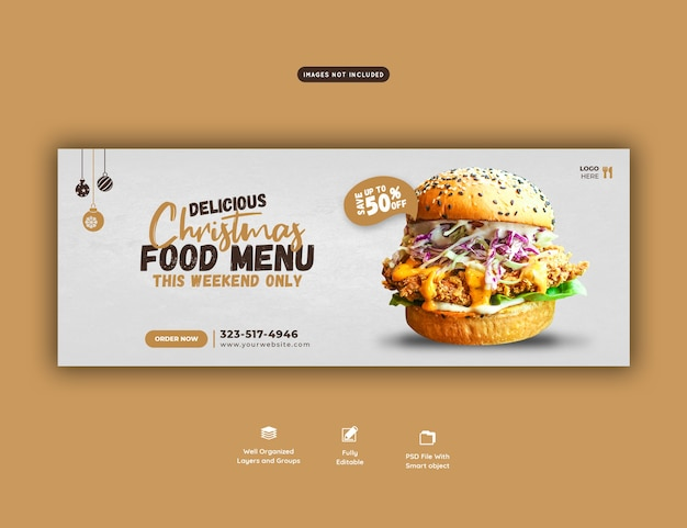 Merry christmas delicious burger and food menu facebook cover template